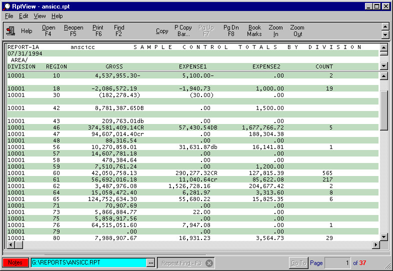 RptView (Report Viewer) Screen Shot, view, print, extract, mainframe, ASCII, printer
